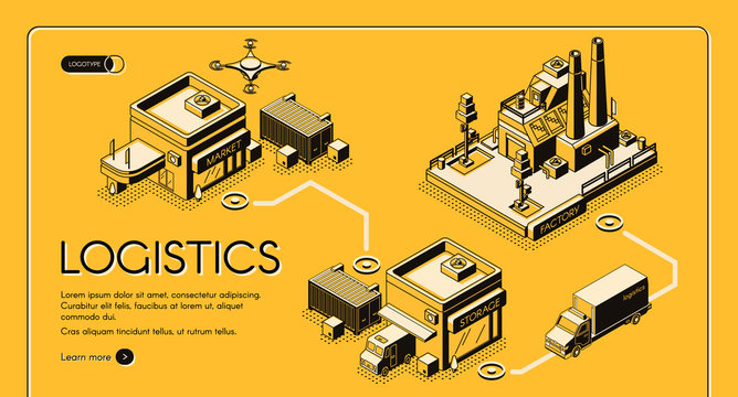 Business logistics service isometric vector web banner, landing page. Delivery drone and truck transporting goods from factory to storage and market illustration. Company supply chain infographics