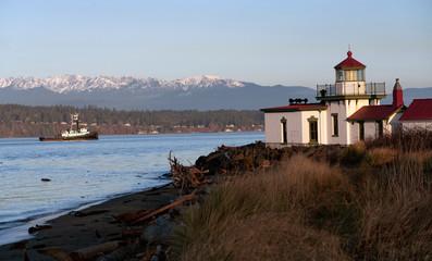 Vessel Passing West Point Lighthouse Puget Sound Seattle Washington
