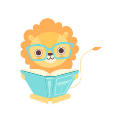 Cute Smart Lion in Glasses Reading Book, Funny African Animal Cartoon Character Vector Illustration