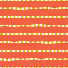 Horizontal hand drawn stripes coral pink yellow gold seamless vector background. Irregular lines repeating abstract pattern. Naive kids style. For kids market, summer spring coordinate, banner, fabric