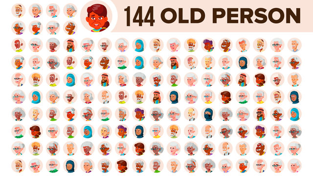 Old People Avatar Set Vector. Multi Racial. Face Emotions. Multinational User Person Portrait. Elderly Male, Female. Ethnic. Icon. Asian, African, European, Arab. Flat Illustration
