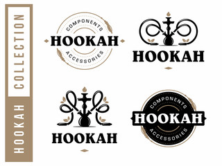 Modern professional logo set hookah in gold and white theme