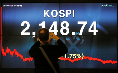 A man takes photographs of an electronic board showing the KOSPI at Korea Exchange in Seoul