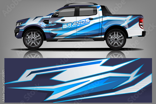 truck and car decal design vector kit  abstract background
