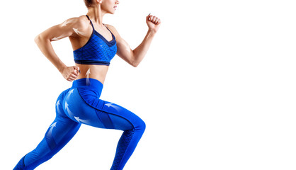 Young woman runner in blue sportswear running.