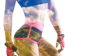 Double exposure of young woman in sportswear and nature.