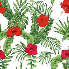 Tropical pattern leaves flowers seamless white background