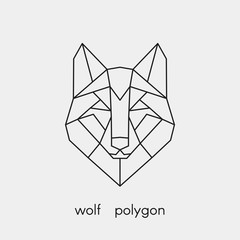 Vector illustration. Abstract polygon the head of a wolf. Geometric line animal.