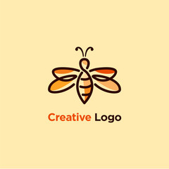 line art illustration of bee logo designs, colorful honey bee logo designs template