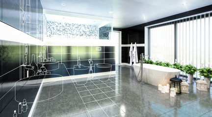 Luxurious Bathroom Furnishing (illustration) - 3d visualization