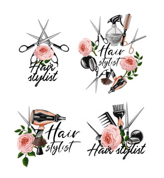 Hairdresser tools stickers such as hairdryer, comb, scissors, mirror, hair dye and other. Vector.