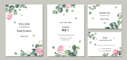 Watercolor vector set wedding invitation card template design with green eucalyptus leaves and flowers.