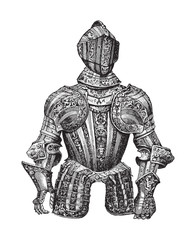 Knight armour (Cuirass) / illustration from Meyers Konversations-Lexikon 1897