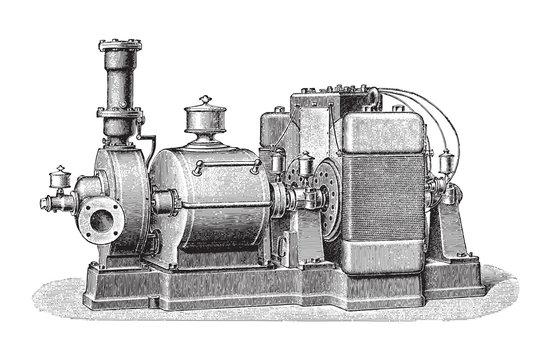 Old steam turbine with electric generator / vintage illustration from Meyers Konversations-Lexikon 1897