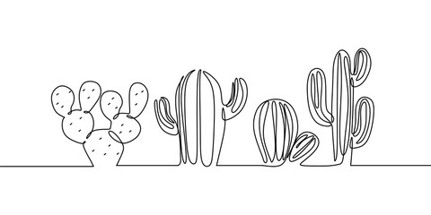 Fototapeta Vector Set of Cute Cactus continuous one line drawing Black and White Sketch House Plants Isolated on White Background. Potted Cactus Family Hand Drawn Illustration obraz