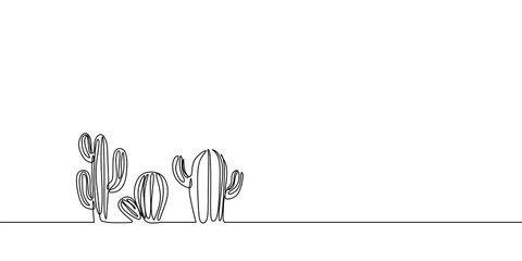 Vector Set of Cute Cactus continuous one line drawing Black and White Sketch House Plants Isolated on White Background. Potted Cactus Family Hand Drawn Illustration