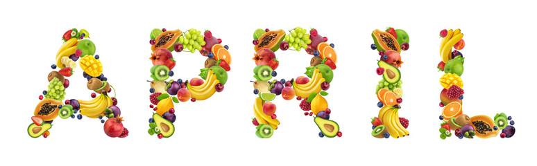 Word april made of different fruits and berries, fruit font isolated on white background Wall mural