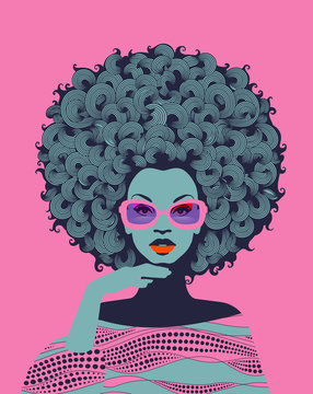 Afro American woman art portrait with pink sunglasses. Mid century modern retro style. Eps10 vector
