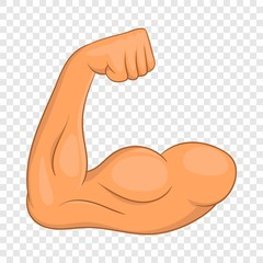 Biceps hands icon in cartoon style isolated on background for any web design
