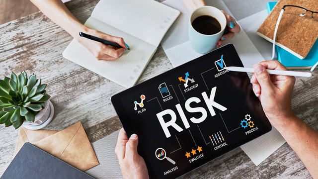 Risk management business and technology concept on virtual screen.