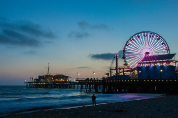 Wall Mural - Ferris Wheel in Santa Monica, Night Los Angeles, California	 US