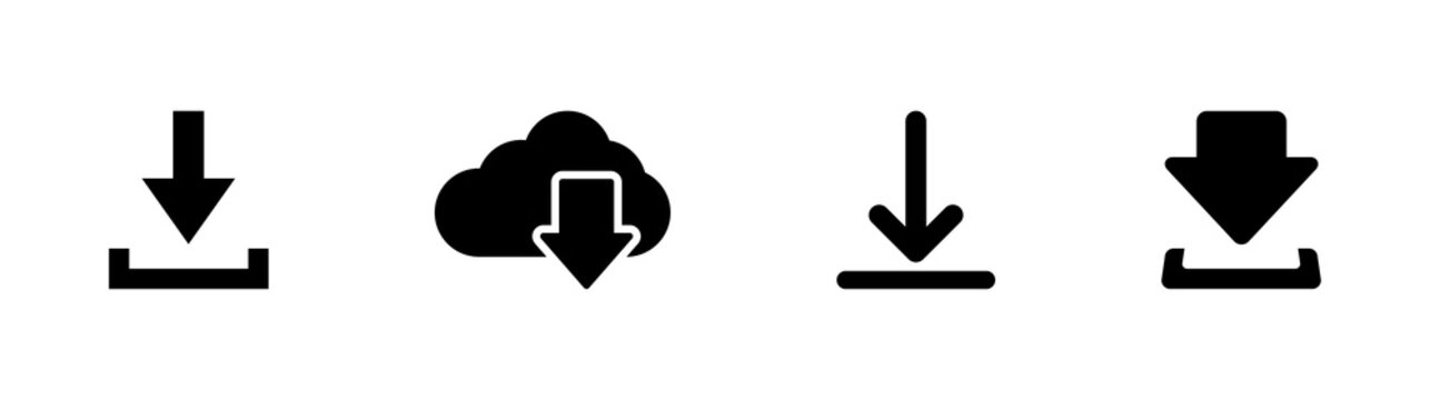 set of Download black icons. downloads. download vector icons. download collection