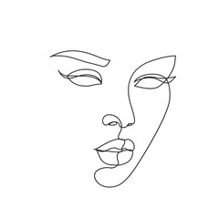 Foto op Plexiglas One Line Art Abstract face icon