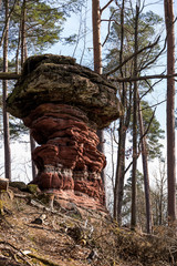 rocher forme de champignon en grés rose