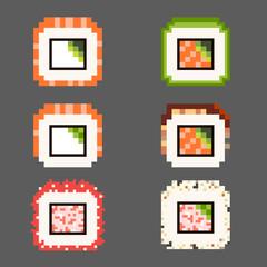 pixel art sushi maki roll asian japanese food icon set