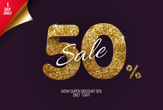 Shine golden sale 50% off, made from small gold glitter squares, pixel style. For sale and discount offers.