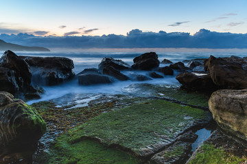 Rocking the Greens and Blues Dawn Seascape