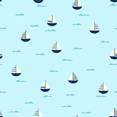boat cute seamless pattern