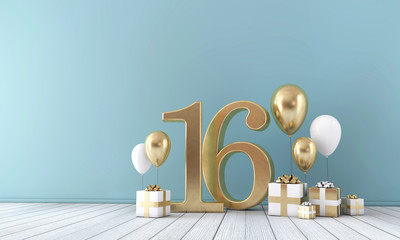 Number 16 party celebration room with gold and white balloons and gift boxes.