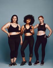 Muilt-ethnic women in sportswear