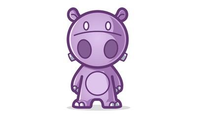 Vector cartoon illustration of purple hippo. Isolated on white background.