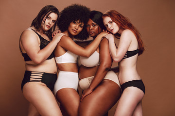 Diverse group of women in underwear