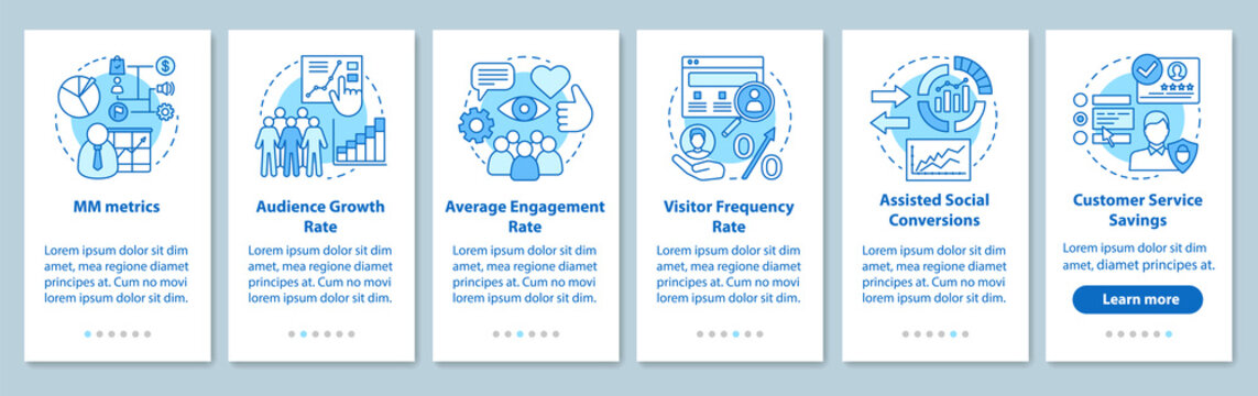 SMM metrics onboarding mobile app page screen with linear concep