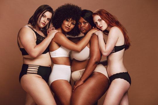 Diverse group of women in underwear