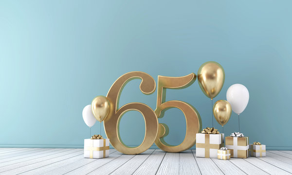 Number 65 party celebration room with gold and white balloons and gift boxes.