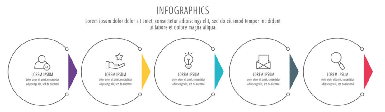 Modern line vector illustration. Infographic circles template with six elements, sectors, icons. Designed for business, presentations, web design, interface, workflow layout, diagrams with 6 steps