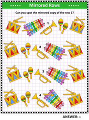 Visual puzzle with toy musical instruments: Can you spot the mirrored copy of the row 1? Answer included.