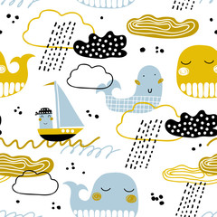 Cute seamless pattern with whale, boat, clouds and waves. Scandinavian style. Summer marina background. Perfect for fabric, textile. Vector background.