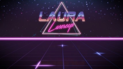 first name Laura in synthwave style