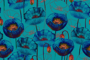 Art poppy seamless pattern.