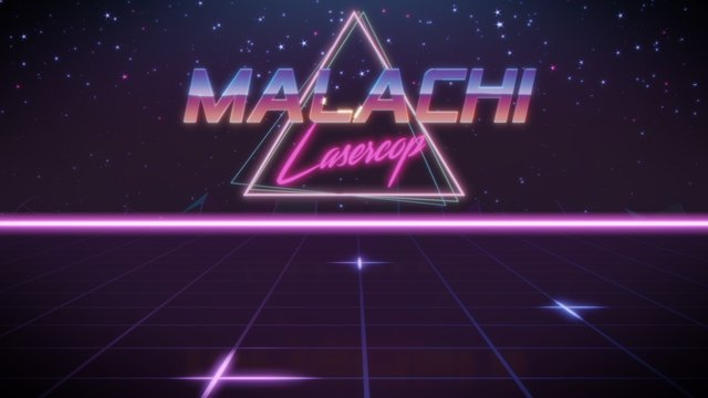 first name Malachi in synthwave style