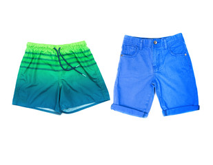 classic blue shorts and swimsuits for swimming on a white background