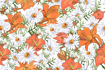 Art floral vector seamless pattern.