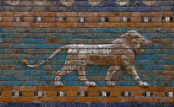 Glazed brick bas relief of Ishtar Gate of Babylon