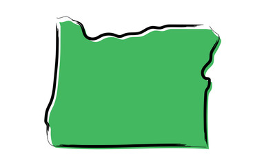 Stylized green sketch map of Oregon Wall mural