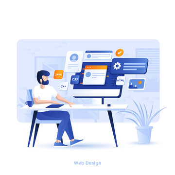 Flat color Modern Illustration design - Web Design